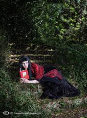 Book of Spells, Female portrait, gothic, knebworth gardens