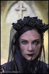 graveside vigil, model in black veil, graveyard. Victoria park, Southampton
