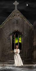 White dress, female model, ruined church, night time, crucifix.