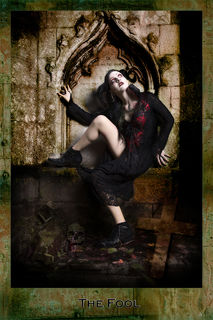 Dark Tarot, the Fool, red and black dress, female model, mystery, fantasy