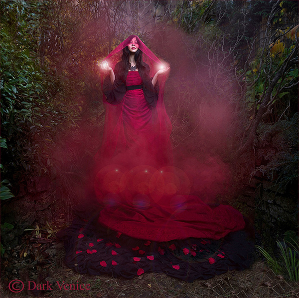 Red Magic, Dark Magic, Red smoke, model in red dress, photo
