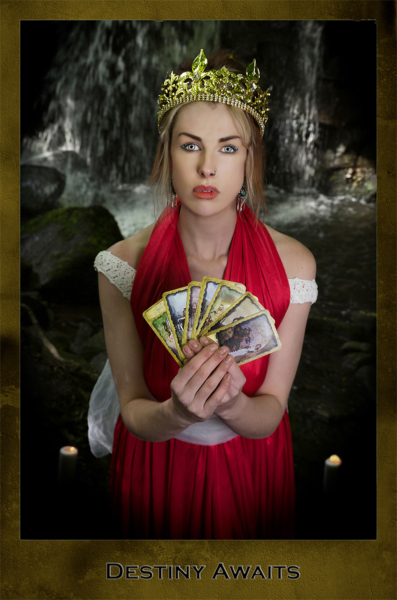 Destiny, dark tarot card, red dress, cards, female model, waterfall, photo
