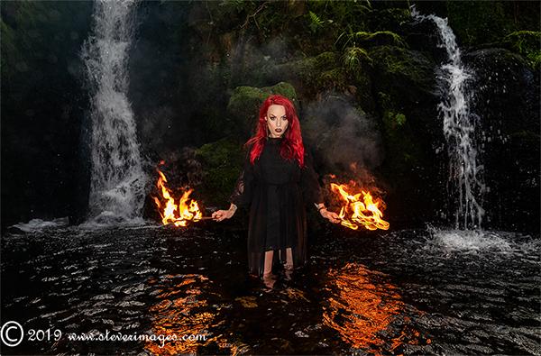 Model in water, fire, two waterfalls, Dartmoor, photo