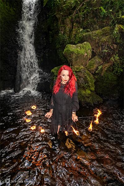 Female model, fire, water, two waterfalls, Dartmoor, photo