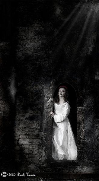 White dress, church ruin, night time, photo