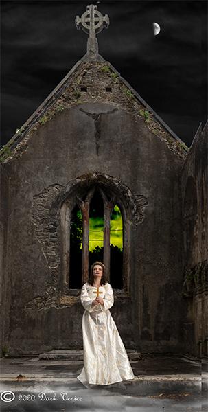 White dress, female model, ruined church, night time, crucifix., photo