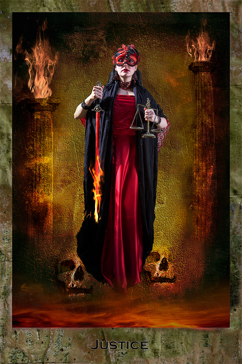 Dark Tarot, Justice, red dress, female model, mystery, fantasy, photo