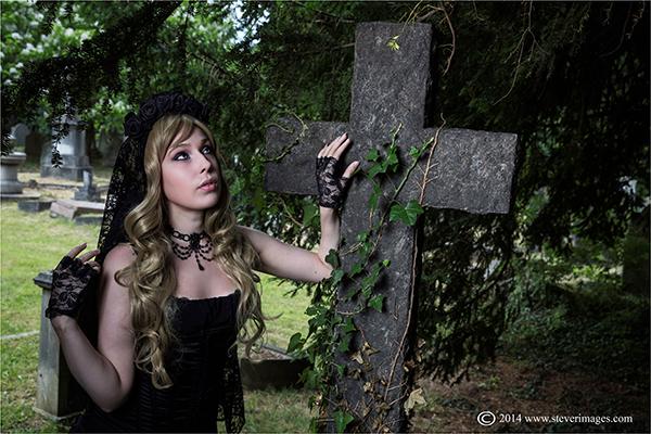 Graveyard, woman in black, Hanwell cemetery, photo