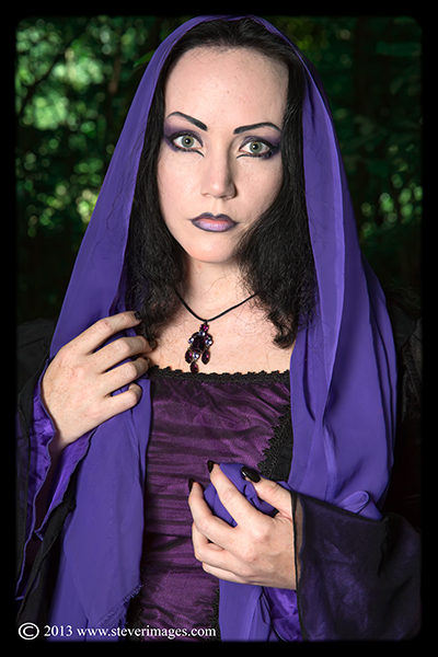 Lady Amaranth, Model in purple, graveyard, photo