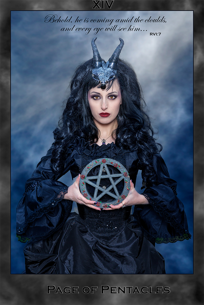 Pentacle, horns, Tarot card, Revelation quote, Page of Pentacles Tarot card