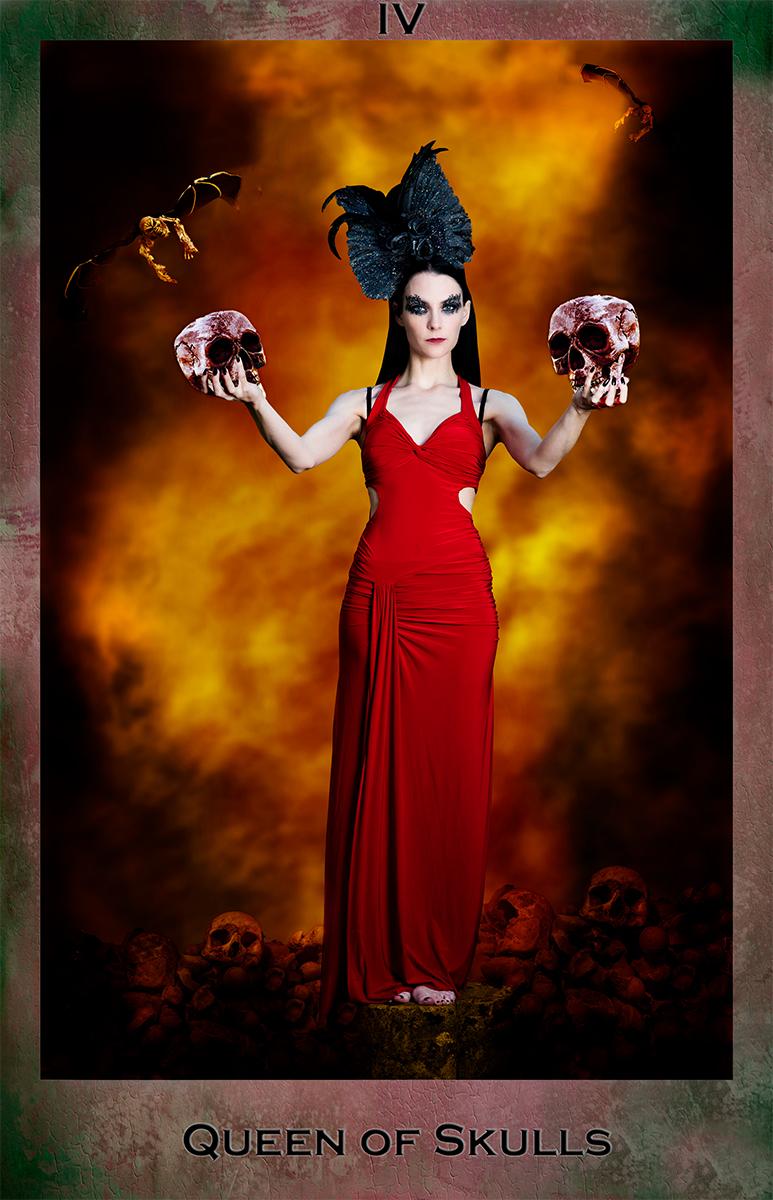 Skulls, Fire, Queen, Red dress, female model, Tarot card, Dark Tarot, Composite image of model in red dress holding skulls for...