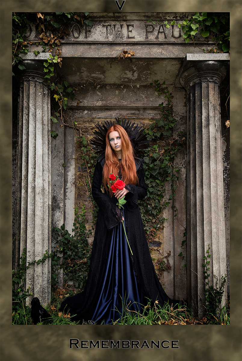 Remembrance, Gothic, Graveyard, Model with brown hair, Photo of model dressed as a goth at Kensal Green cemetery