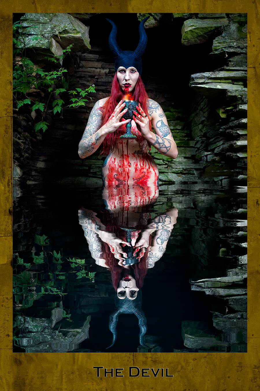 The Devil, Blood, chalice, dark Tarot, The Devil Dark Tarot card