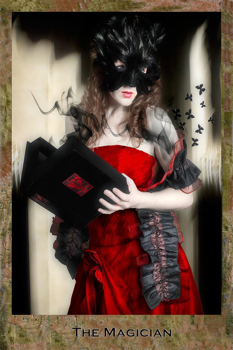 Dark Tarot, Magician, red dress, female model, mystery, fantasy, photo