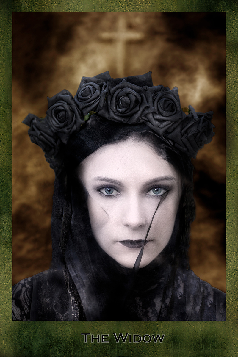Dark Tarot, Justice, black dress and veil and crown of roses, female model, mystery, fantasy, photo