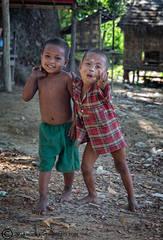 two Burmese boys, laughing boys