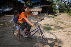 Girl on Bicycle, Burmese girl