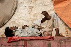 Candid photo of Indian man asleep in Varanasi, India