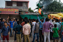 Protest, India, burning, fire