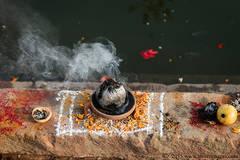 Religious offering, Ganges river, Varanasi, India, Religious, Festival
