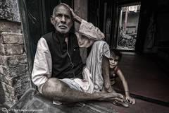 Portrait, Man Home, Varanasi, India, Back streets.