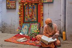 Man, reading sacred script,Varanasi, India, religious festival