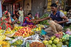 Market, food, buying, Varanasi, India