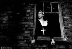 nun, cross, abandoned farm house