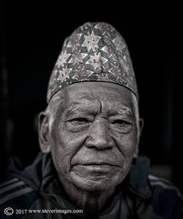 Portrait, Black and white, Nepal man