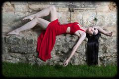 Netley Abbey, woman in red dress