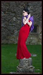 Woman in red, Netley Abbey, Human statue