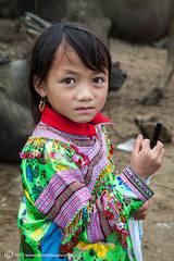 Portrait, girl, Bac Ha market North Vietnam