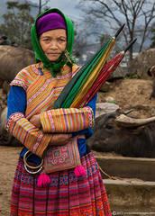 Lady with umbrellas, Portrait, people of North Vietnam