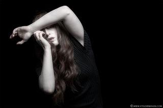 Fear, mental health, female model, subdued colour