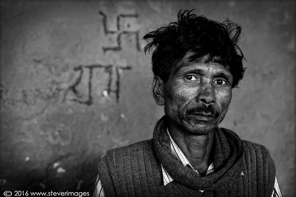 Portrait, black and white, india, swastika