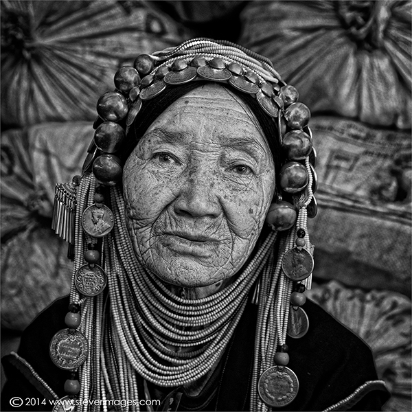 Black and white portrait , elderly women in costume, Burma villager