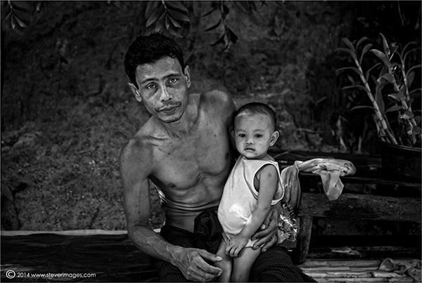 Father, child, black and white portrait
