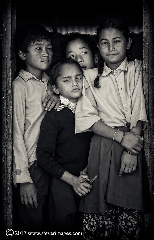 Portrait of children in school,  Nepal, black and white