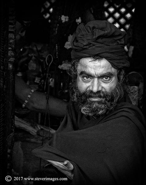 Portrait of Hindu man Nepal, black and white
