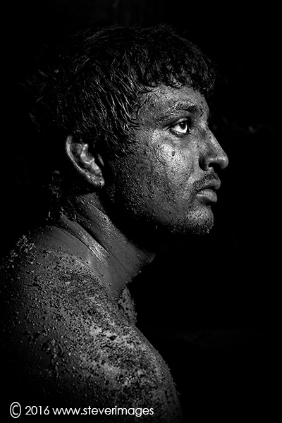 Black and white portrait, India , wrestler