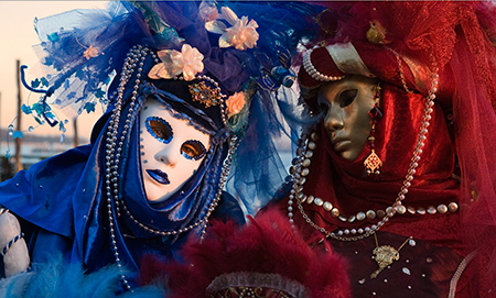 red and blue, Venice, Venice Carnival
