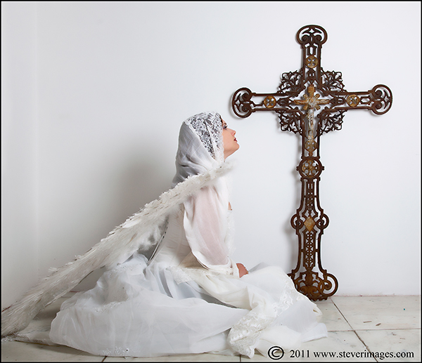 Angel, White angel, Crucifix, photo