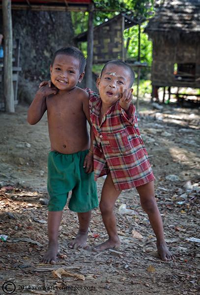 two Burmese boys, laughing boys, photo