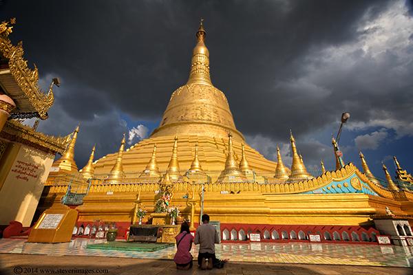 Shwedagon Pagoda, people praying, Yangon, photo