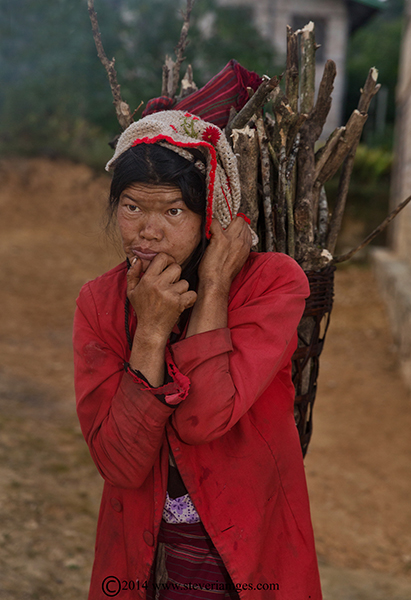 elderly lady thinking, Burmese woman, photo