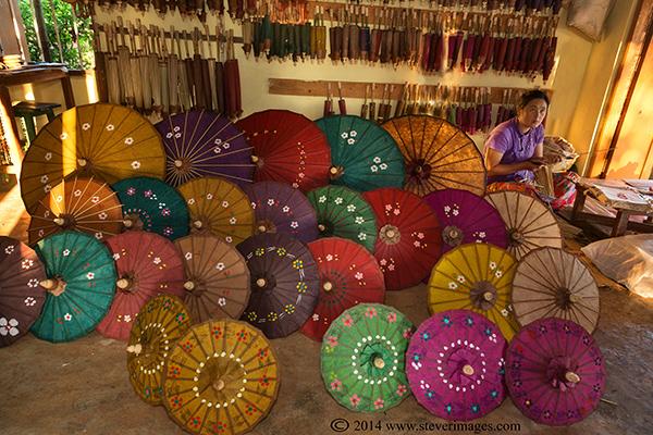 Umbrella's Umbrella shop Burma, photo