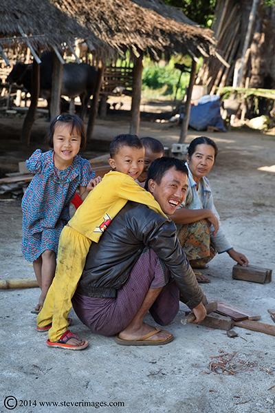 Family, Burmese village, photo
