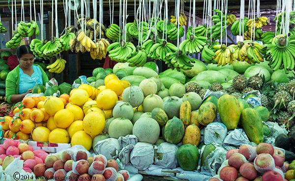 Fruit, fruit market, lady at fruit stall, Burma market, photo