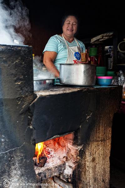 smoke, cooking, market in Burma, photo