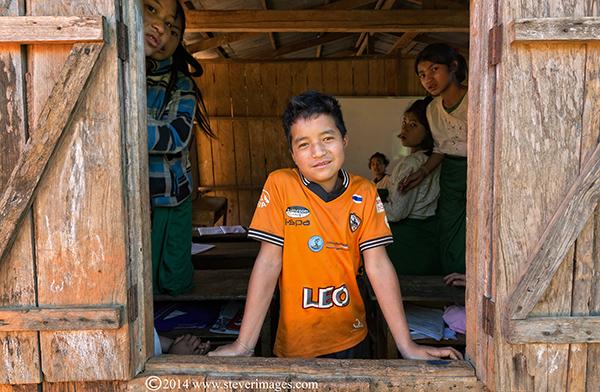 boy at Burma village school, photo